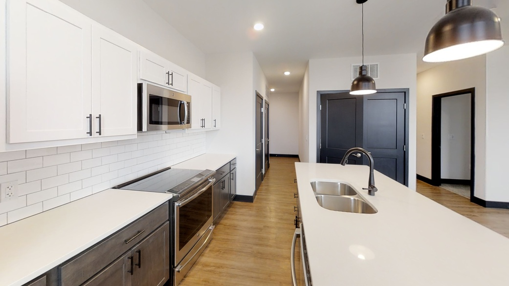 White kitchen apartment features